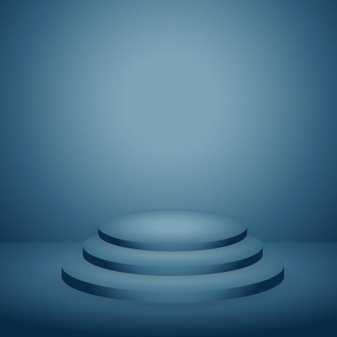 podium i blå mörk bakgrund