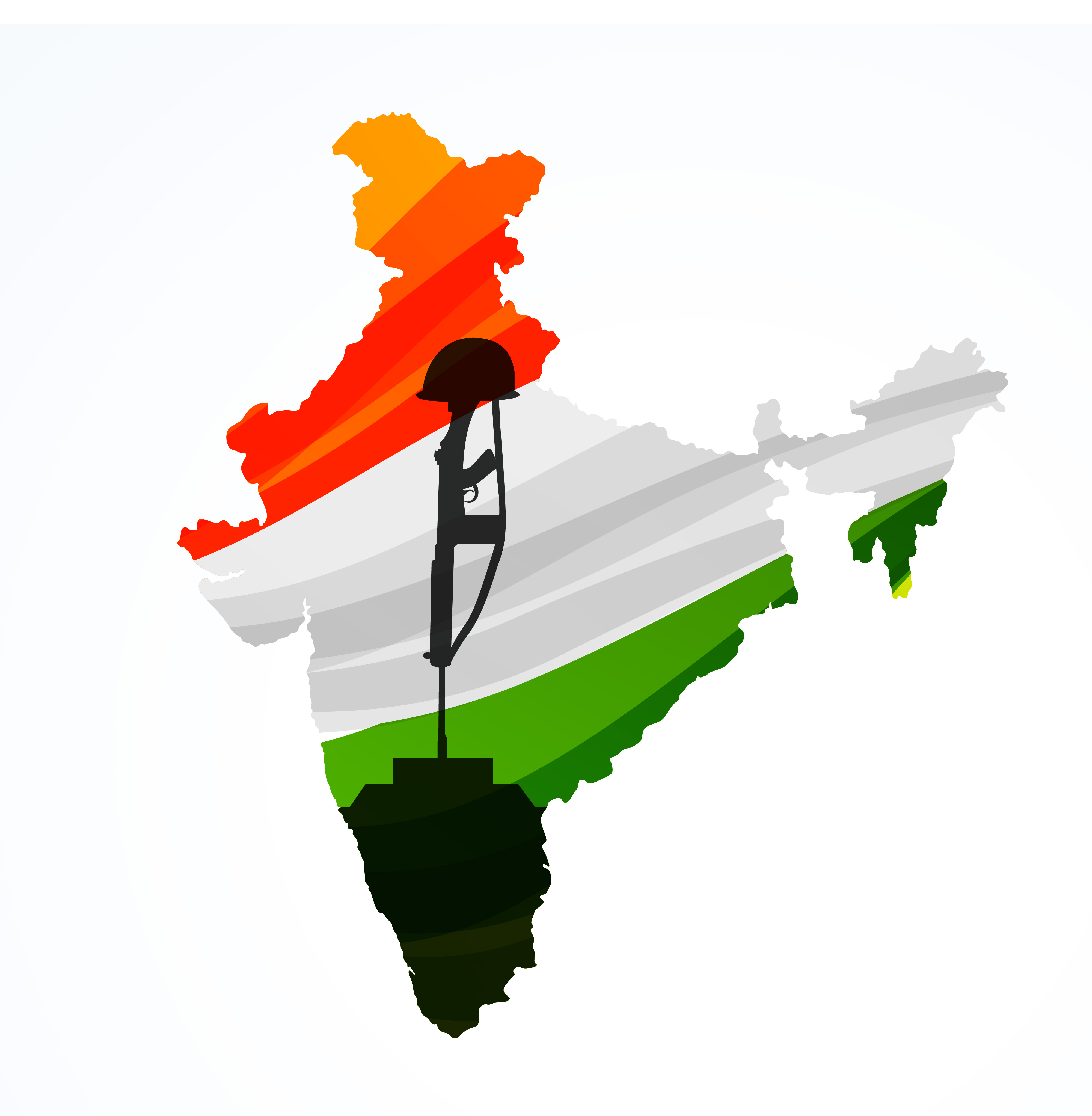Map Of India With Amar Jyoti Vector Design Illustration