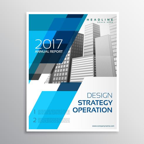 design elegante modelo de folheto azul