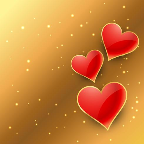 hearts in golden background vector design illustration