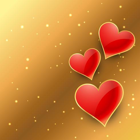 Herzen in der goldenen Hintergrundvektor-Designillustration
