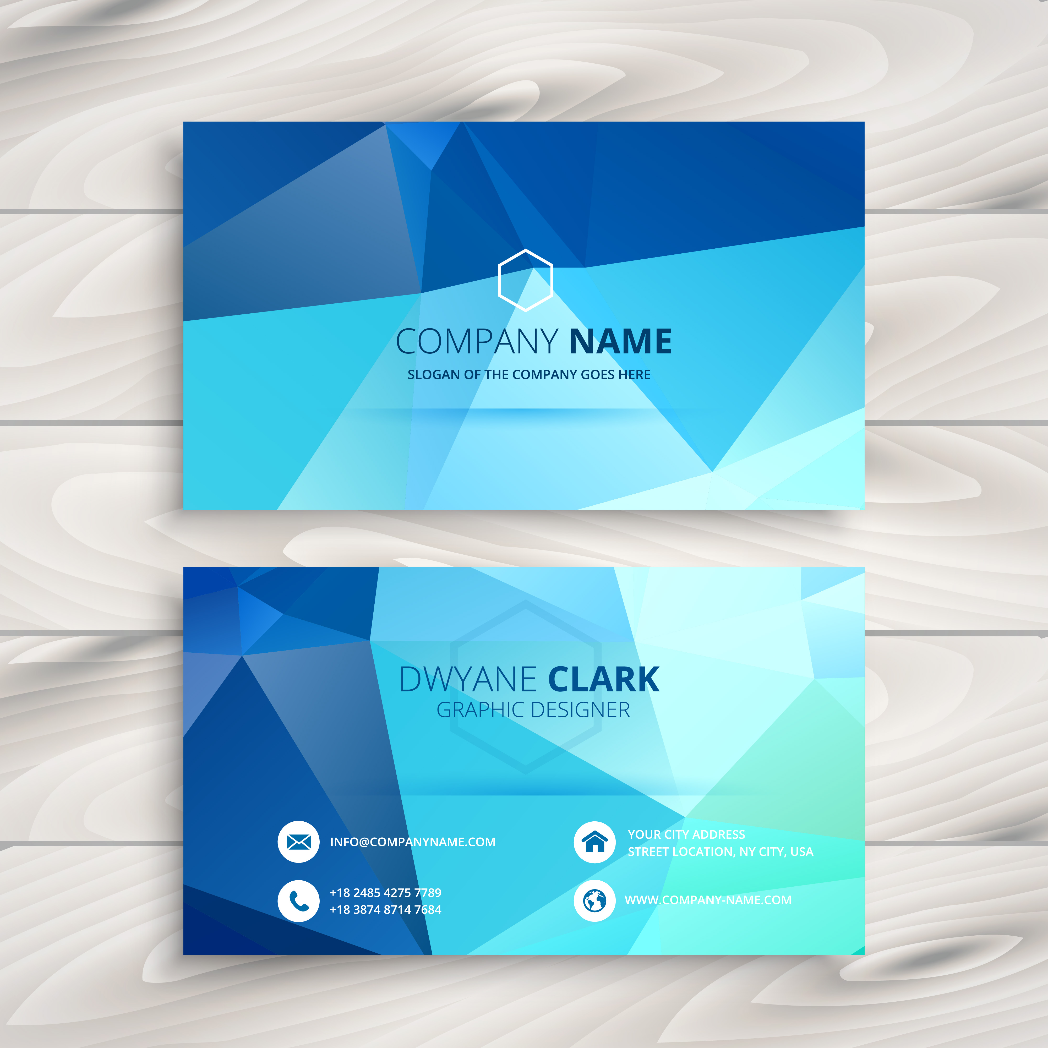 Green Polygonal Business Card: Blue Polygonal Business Card Vector Design Art