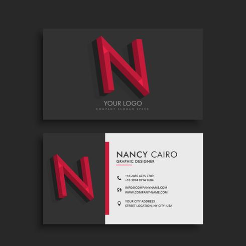 clean dark business card with letter N