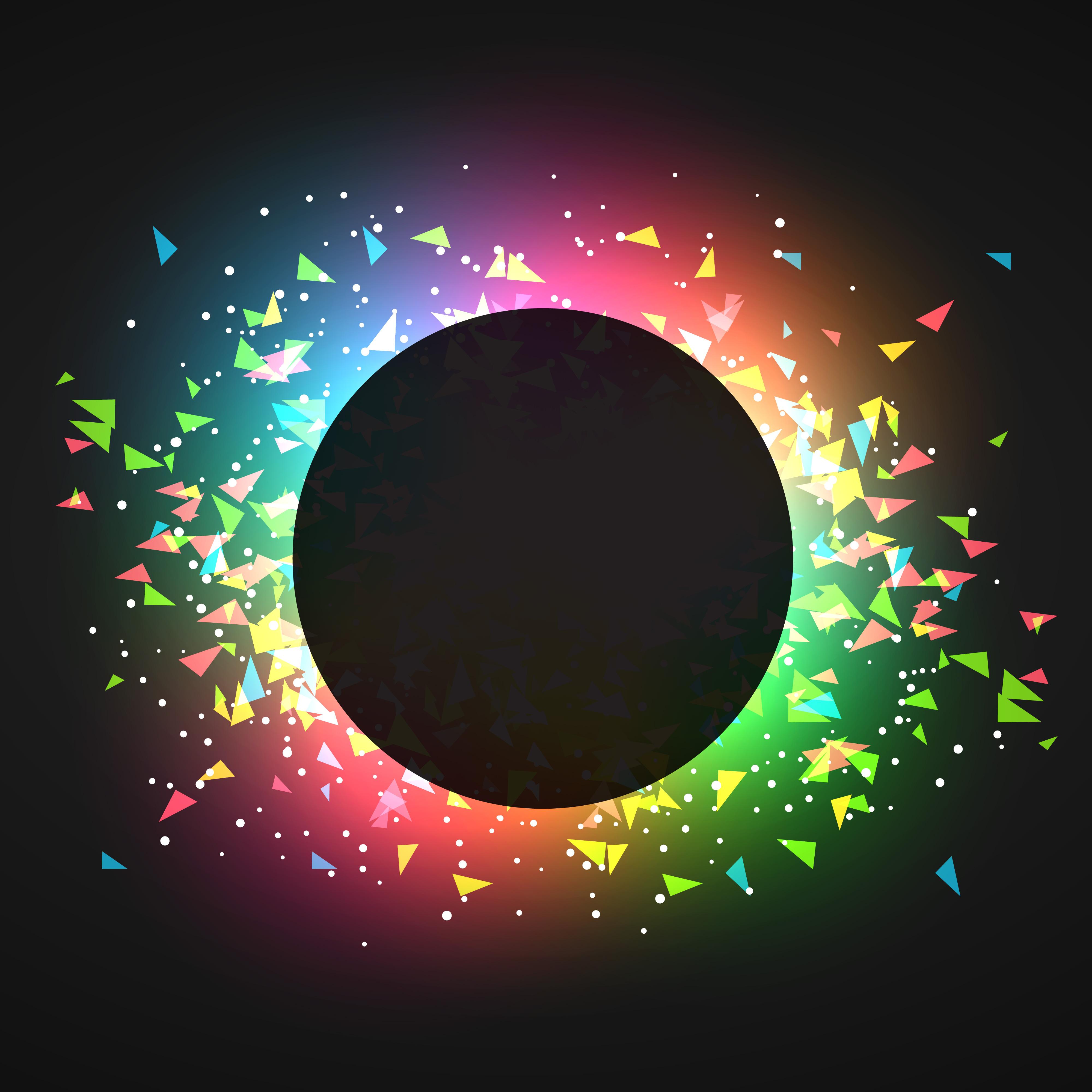 Abstract Confettin Glowing Dark Background Vector Logo Shabby Gratis