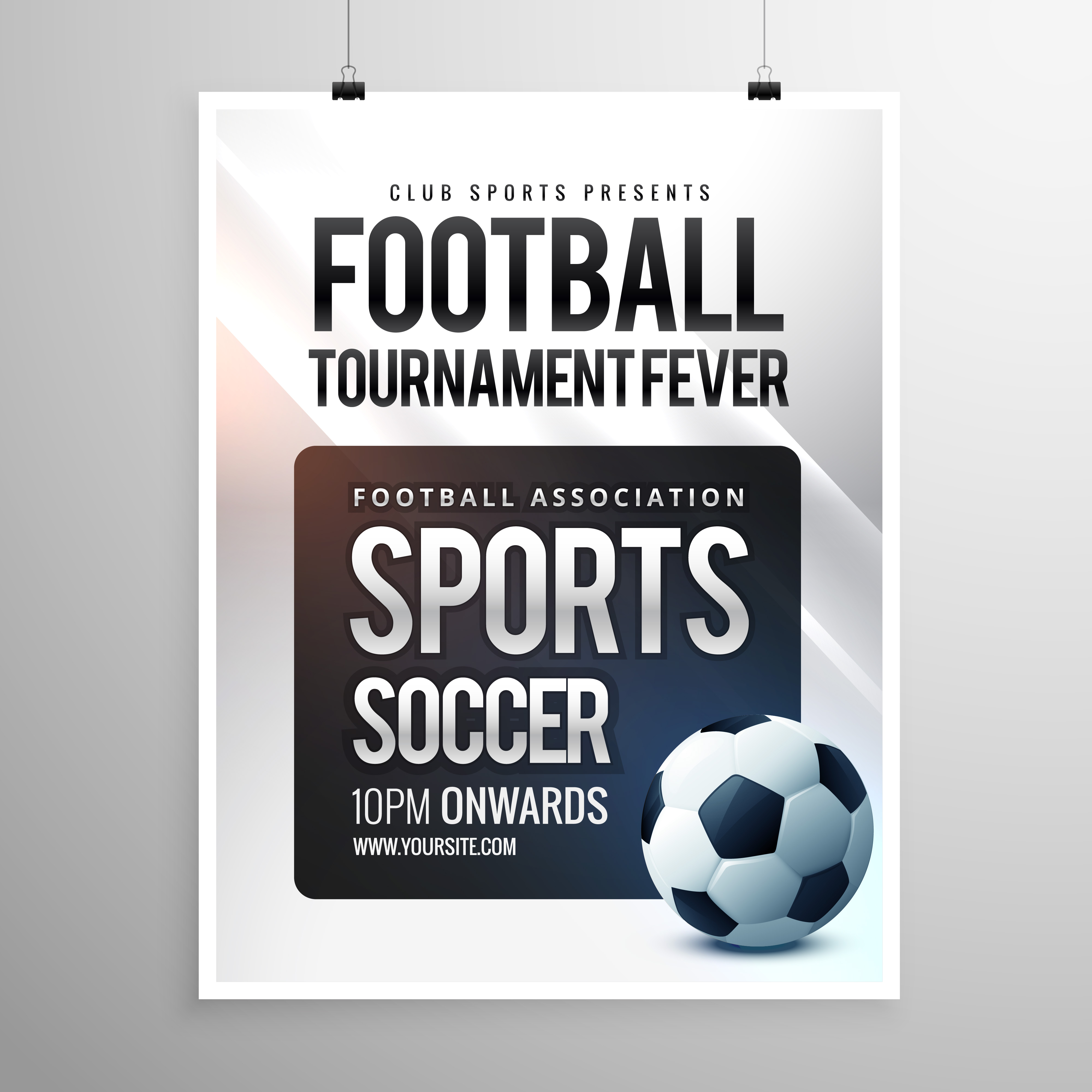 Football Tournament Flyer Invitation Template Download Free Vector