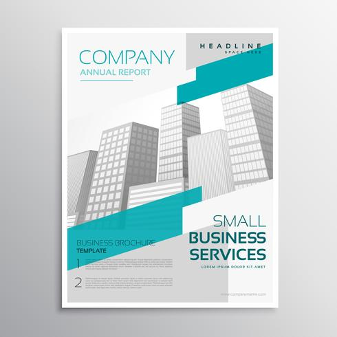 white brochure design in clean style with blue stripe
