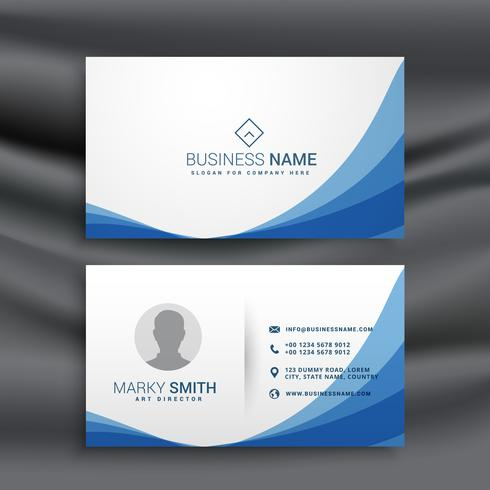 blue wave simple business card design template download free