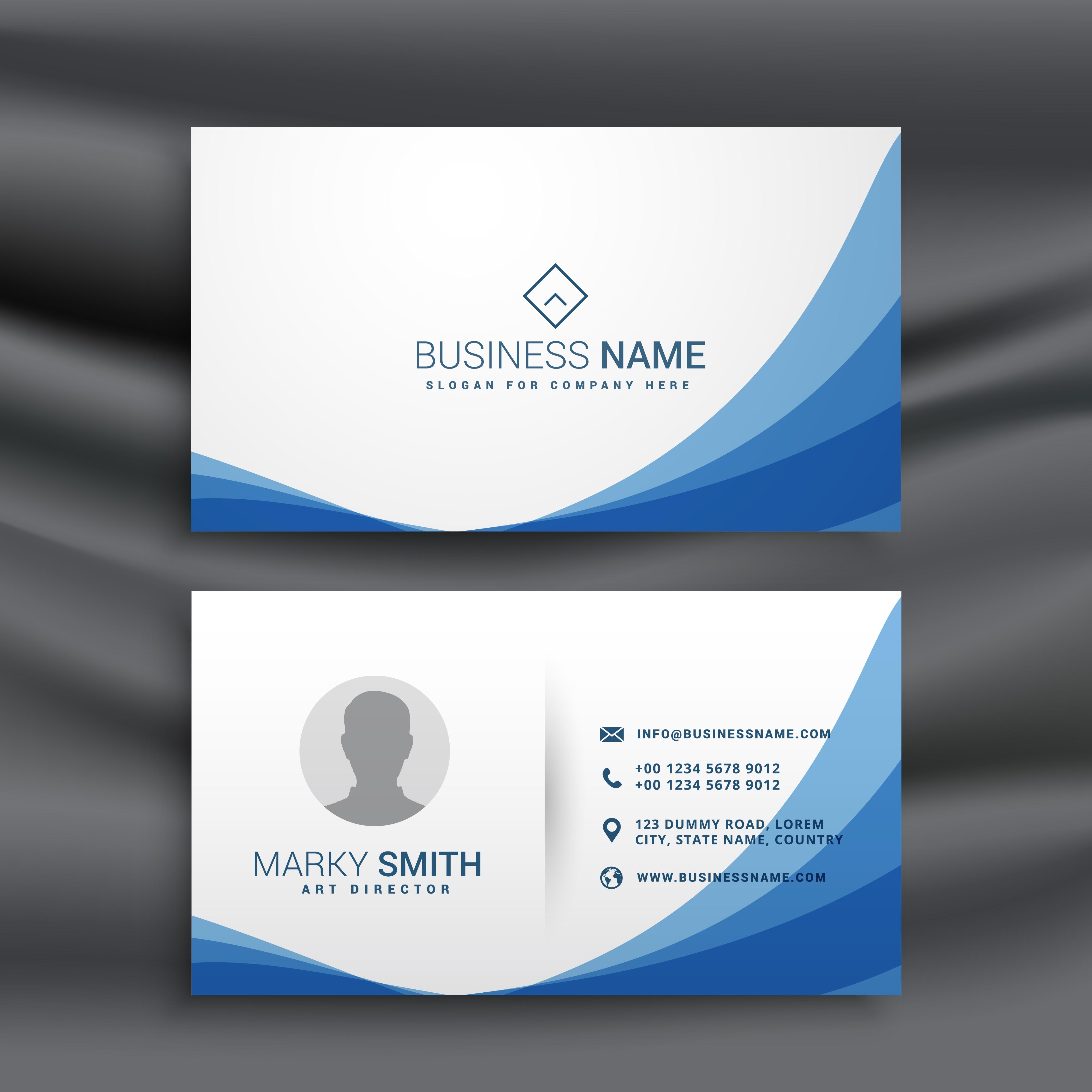 blue wave simple business card design template download free vector art stock graphics images. Black Bedroom Furniture Sets. Home Design Ideas