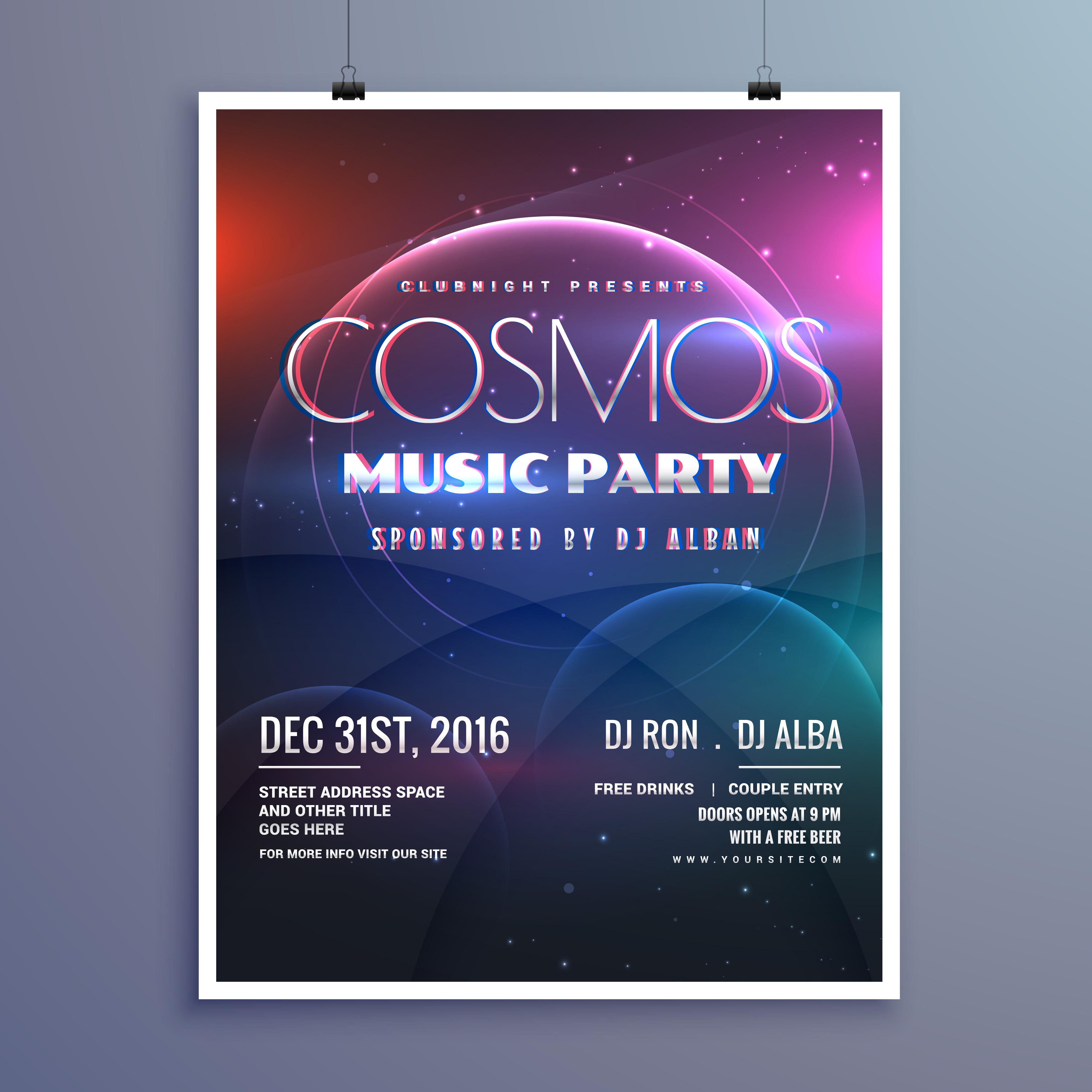 event brochure templates - cosmos music party event flyer template in modern creative
