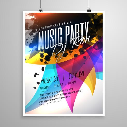 music party flyer template design with colorful abstract shapes