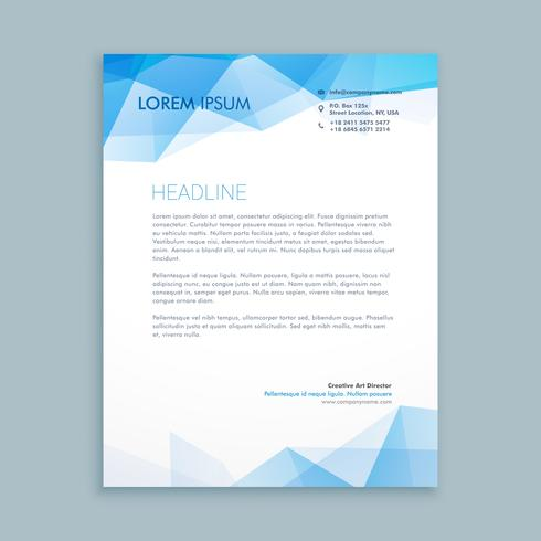 blue abstract shapes letterhead  template vector design illustra