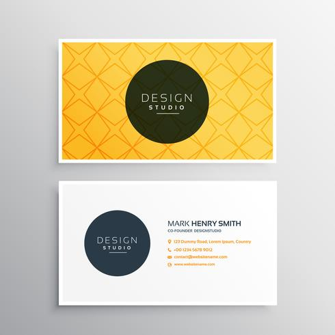 business card template in yellow pattern color