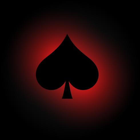 spades symbol on dark background with red light
