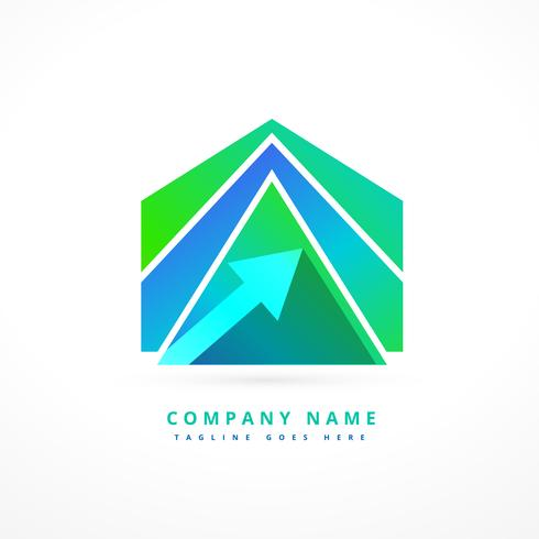 abstract arrow shape business logo design