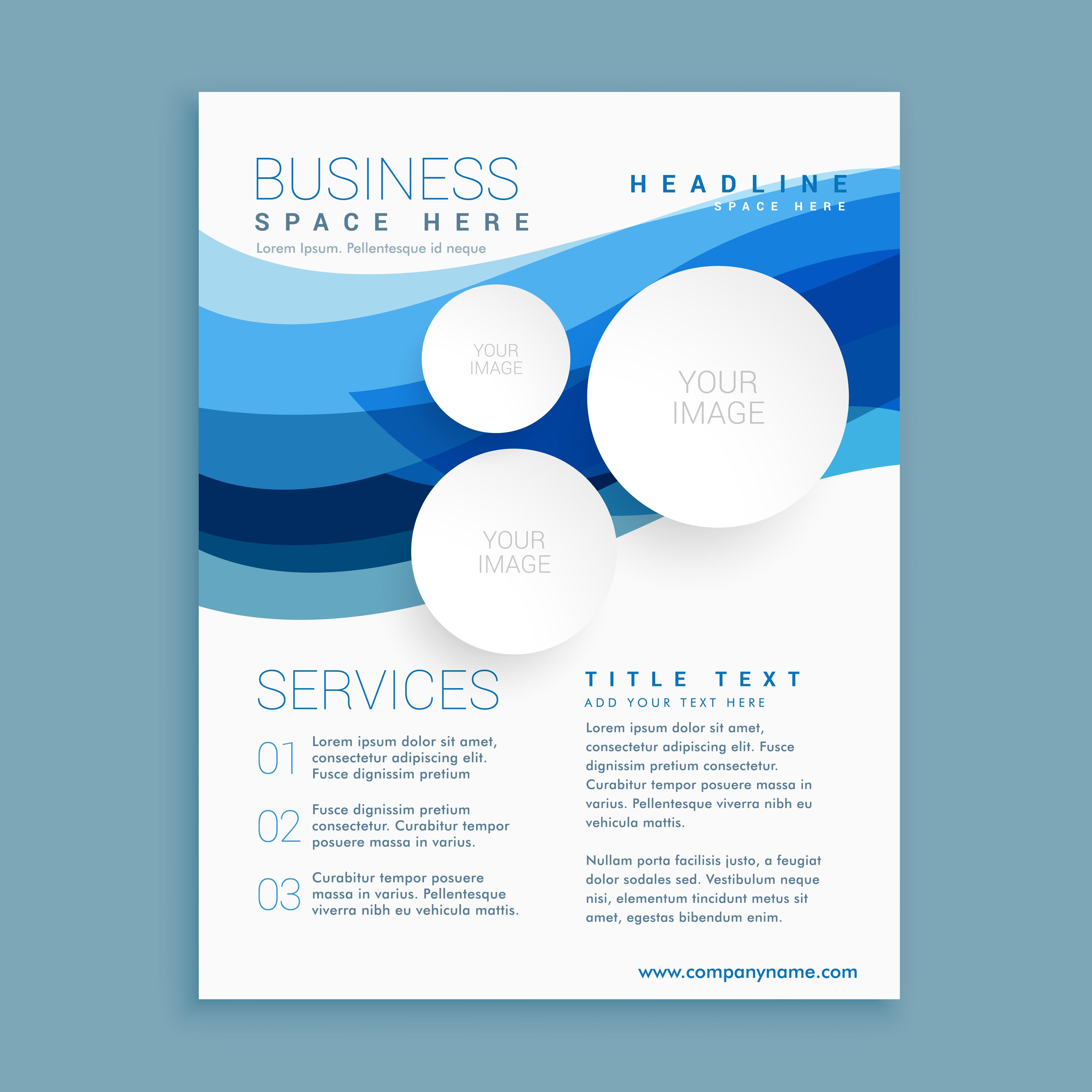elegant blue wave business brochure flyer design template
