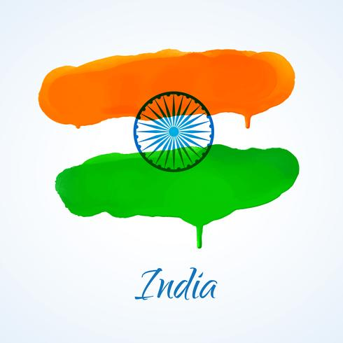indian flag made with watercolor vector design illustration