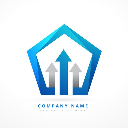 arrow lead blue business style logo template design