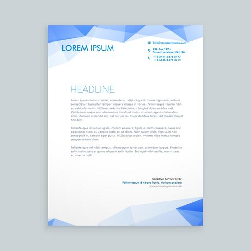 low poly letterhead  template vector design illustration