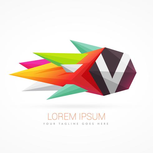 colorful abstract logo with letter V