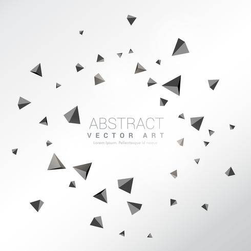 abstract particles shatter of 3d triangles shapes