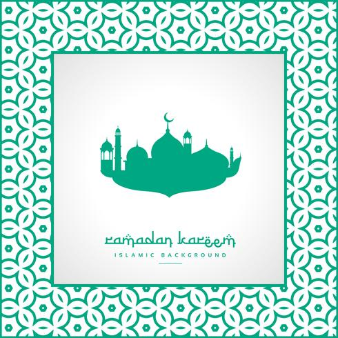 ramadan festival greeting with mosque and pattern frame