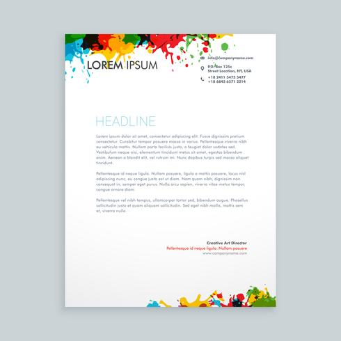 colorful ink splash letterhead template vector design illustrati