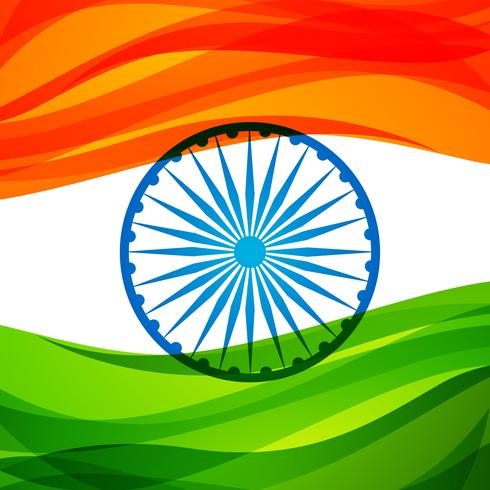 indian tri-color flag background vector design illustration