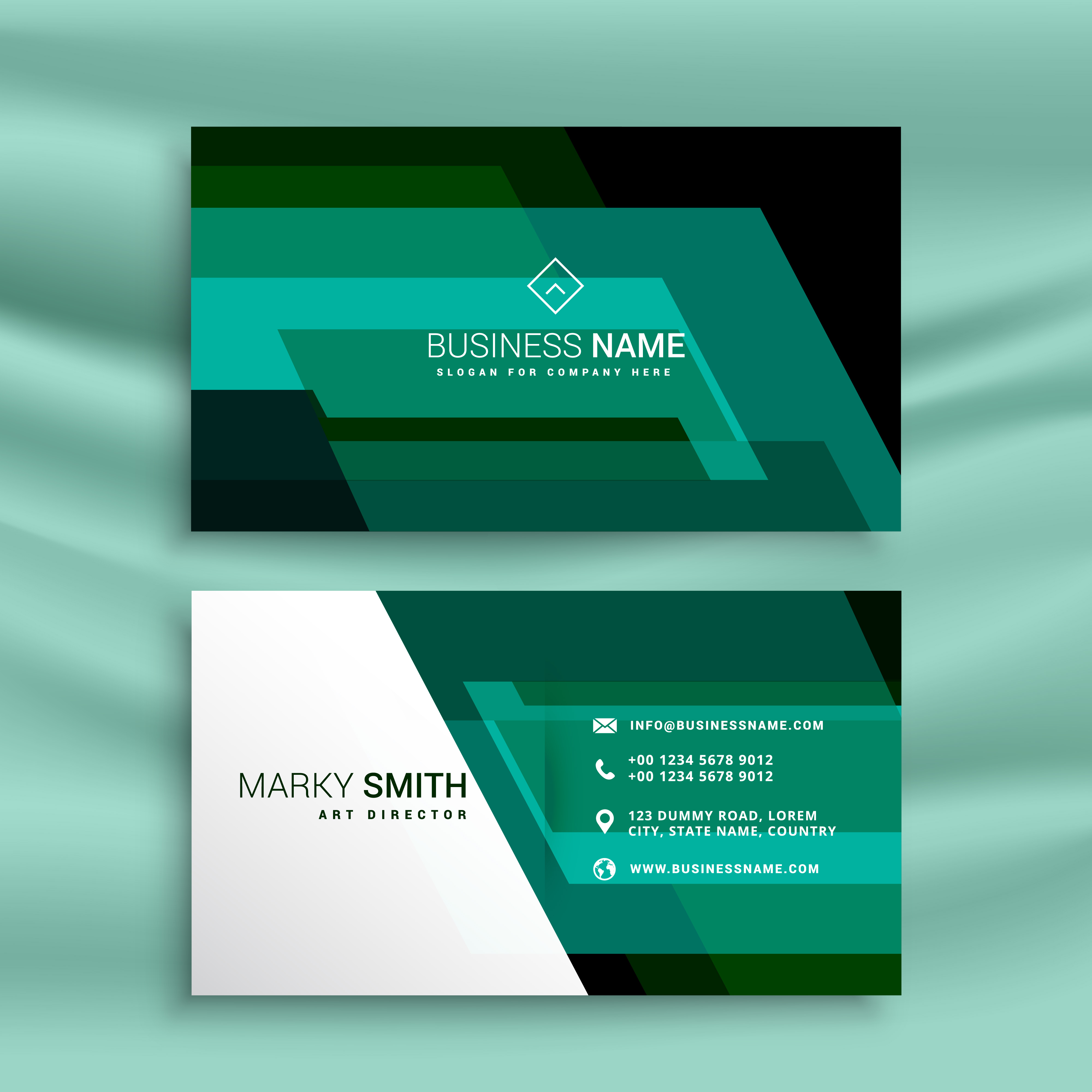 Business Card Layout Template: Abstract Green Business Card Design Template