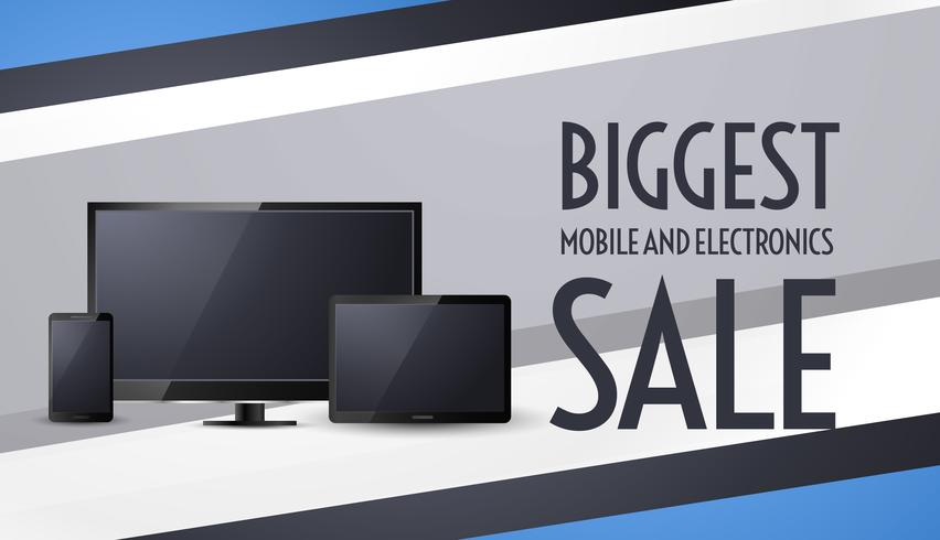 biggest sale banner design with tv, mobile and tablet