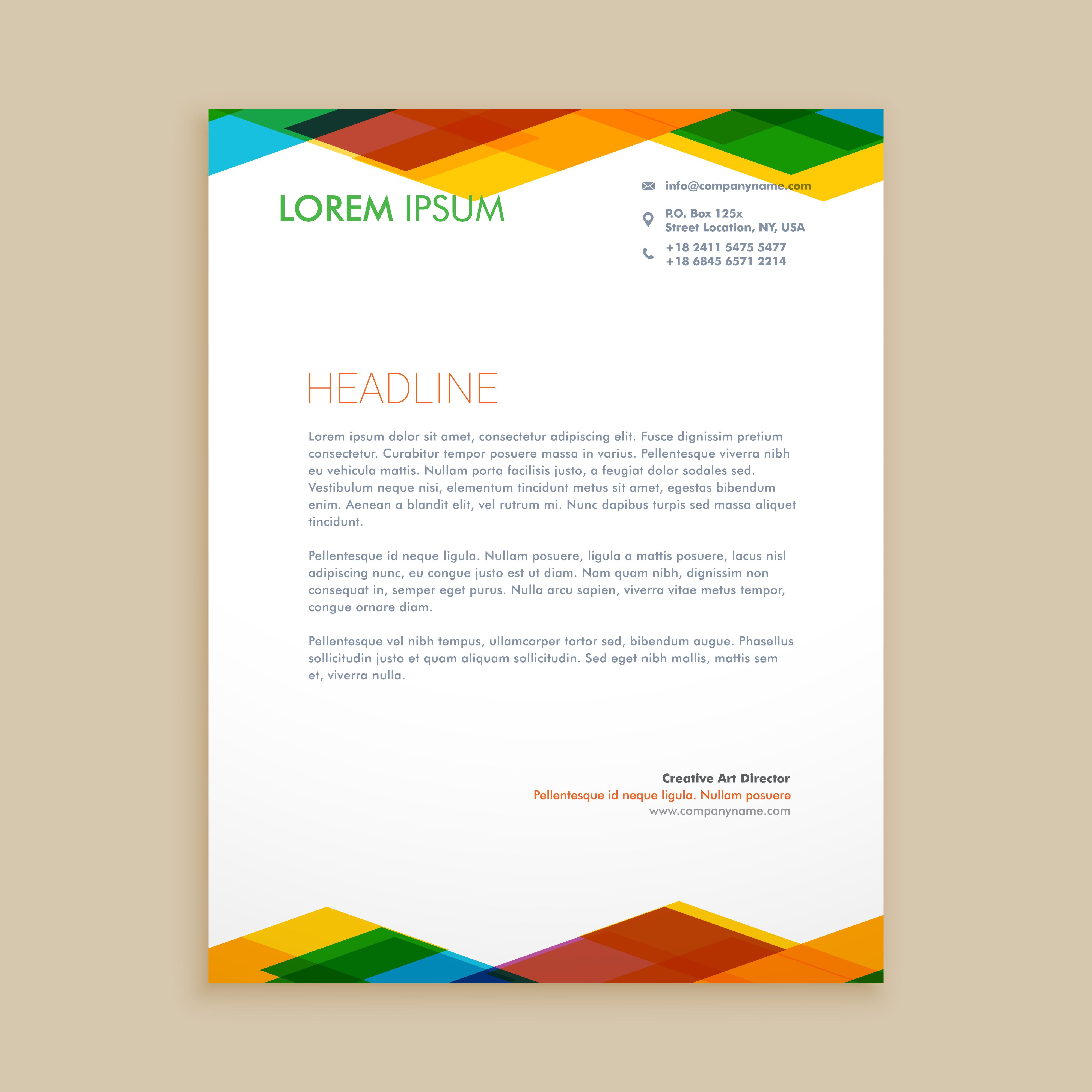 42 Company Letterhead Templates: Abstract Colorful Letterhead Template Vector Design