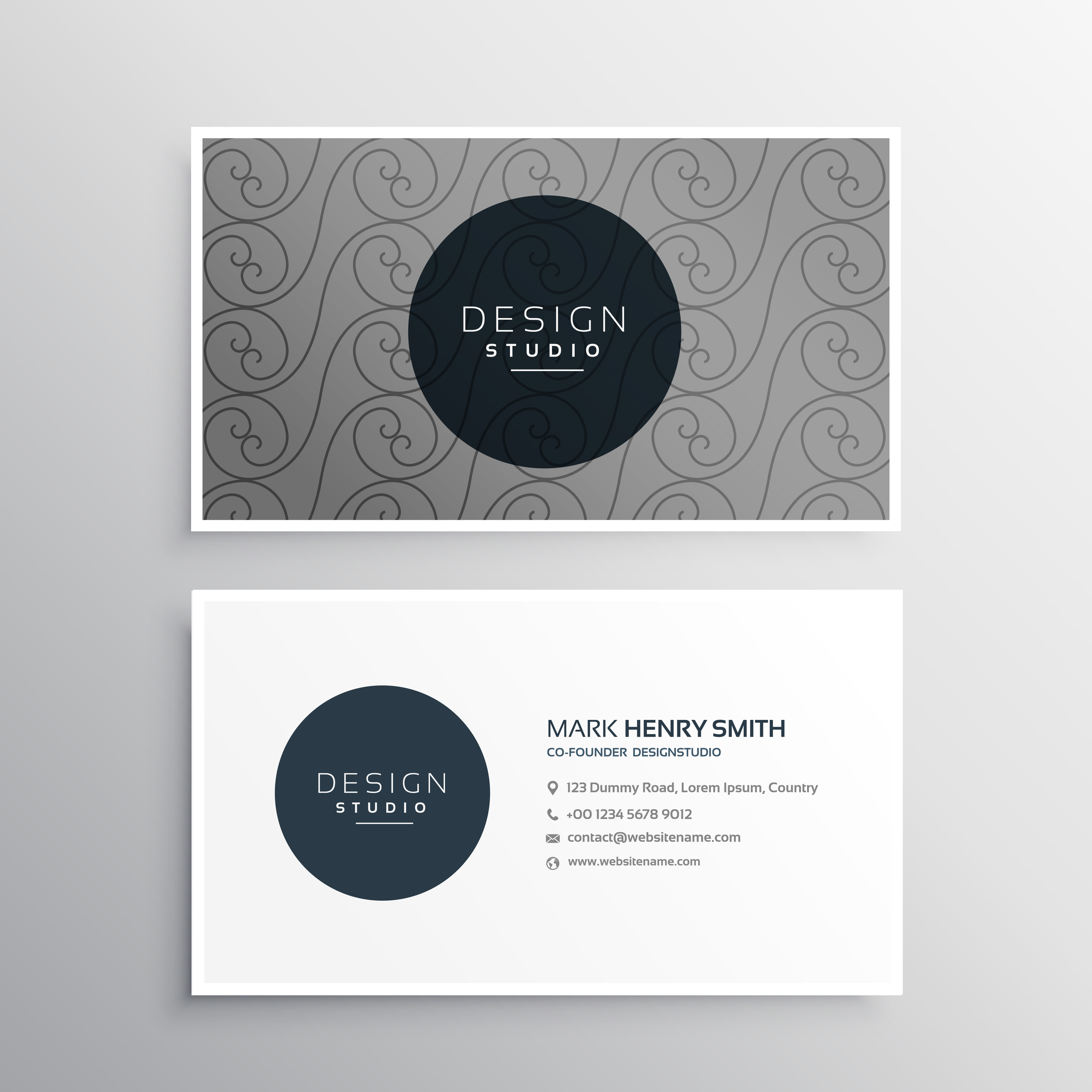 Professional business card design in gray color with pattern sha professional business card design in gray color with pattern sha download vetores e grficos gratuitos reheart Choice Image