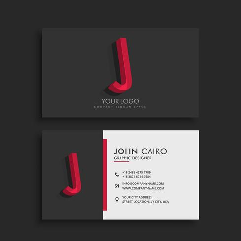 clean dark business card with letter J