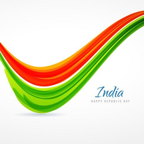 indian tricolor wave background vector design illustration