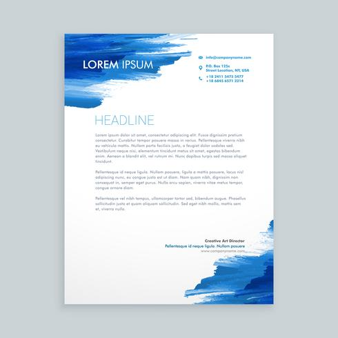 blue flowing ink letterhead  template vector design illustration
