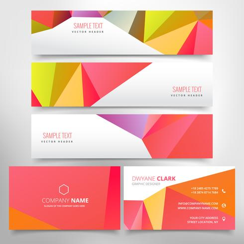 red poly business stationary set download free vector art stock