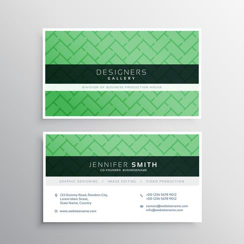 elegant minimal green business card with geometric shapes patter