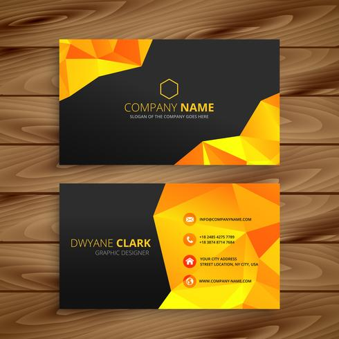 abstract yellow business card template vector design illustratio