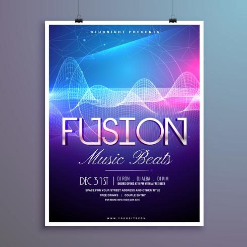 music beats party flyer template with sound waves and colorful l