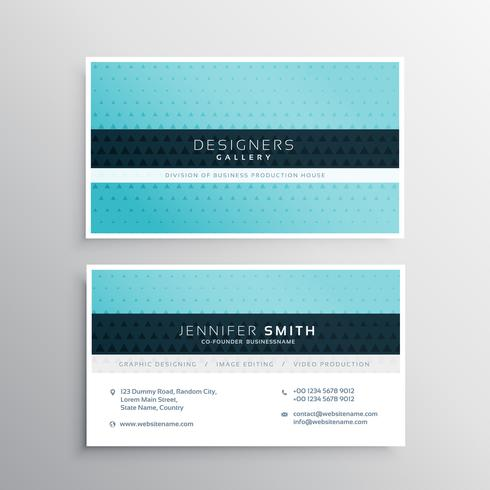 blue company business card with small triangle shapes