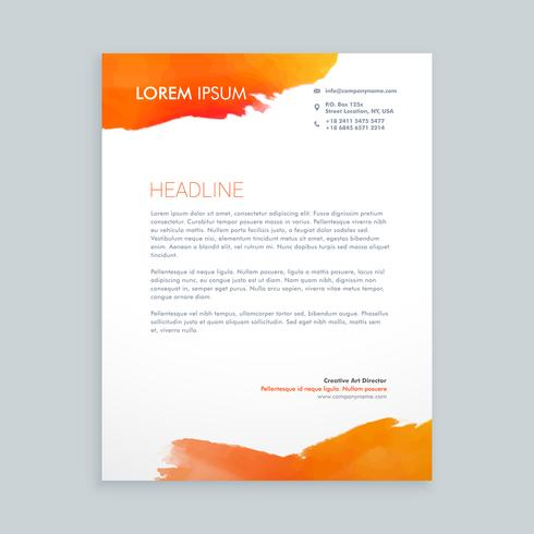 creative orange ink letterhead  template vector design illustrat