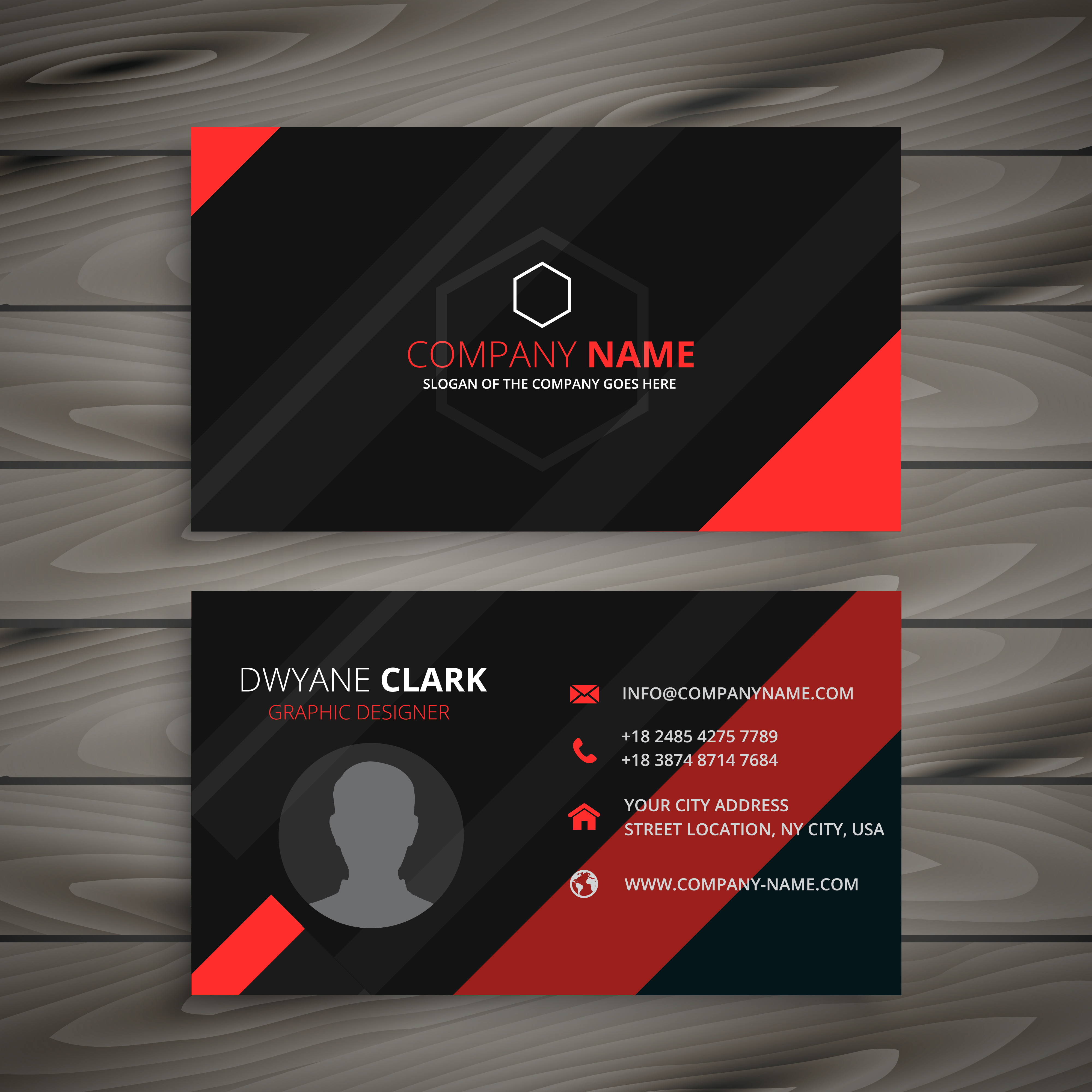 black and red business card template vector design