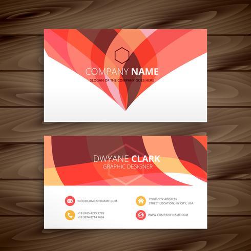 colorful orange business card vector design illustration templat