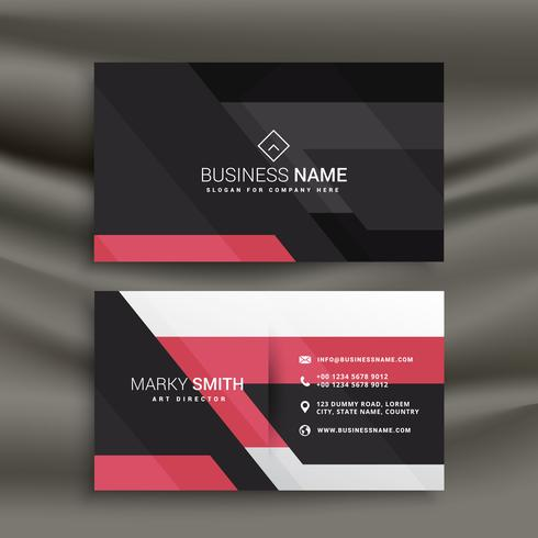 abstract pink and black business card design