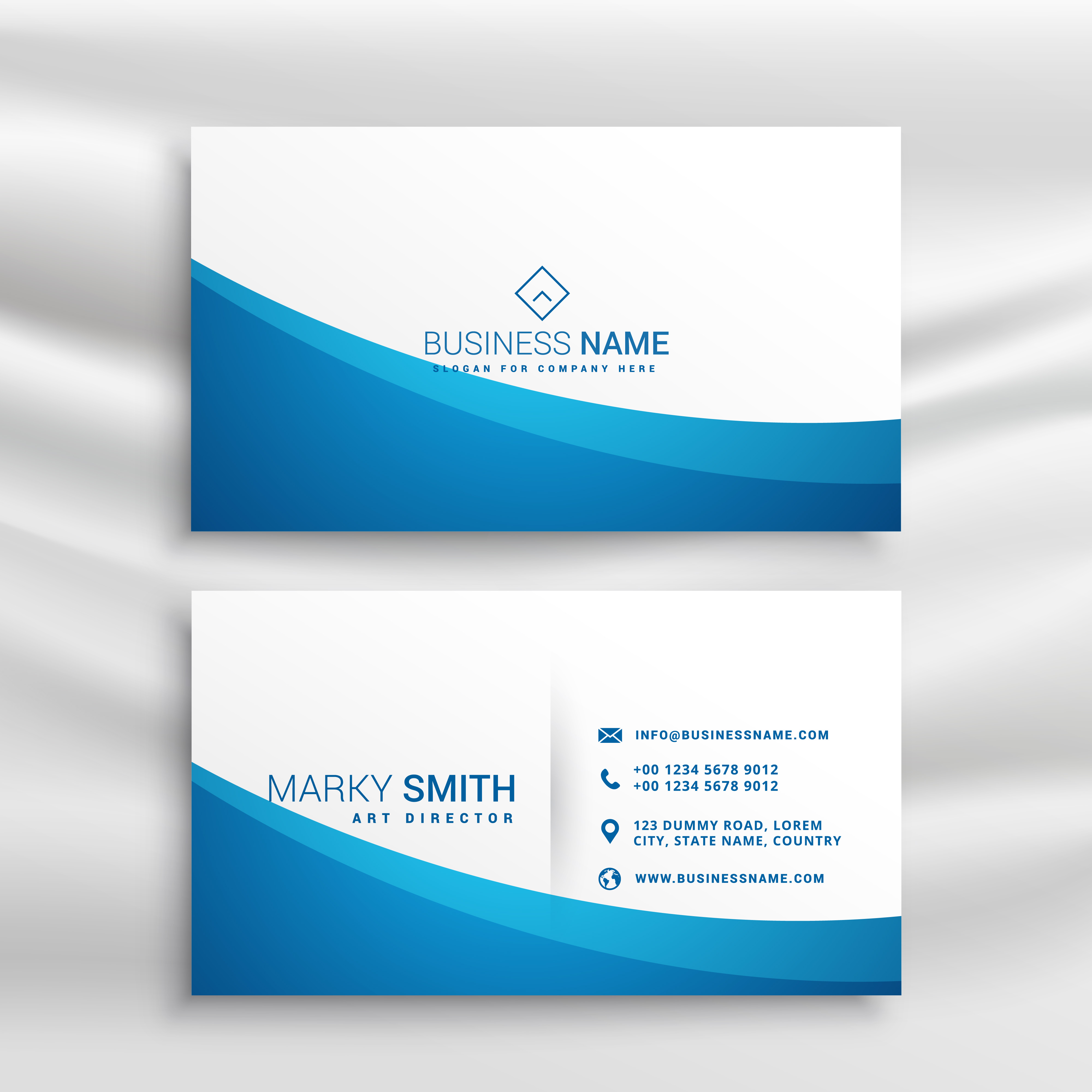 Blue Corporate Stationary Pack By Betty Design: Blue Wave Business Card Template