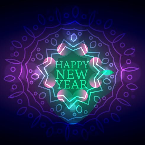 neon ornamental style happy new year card