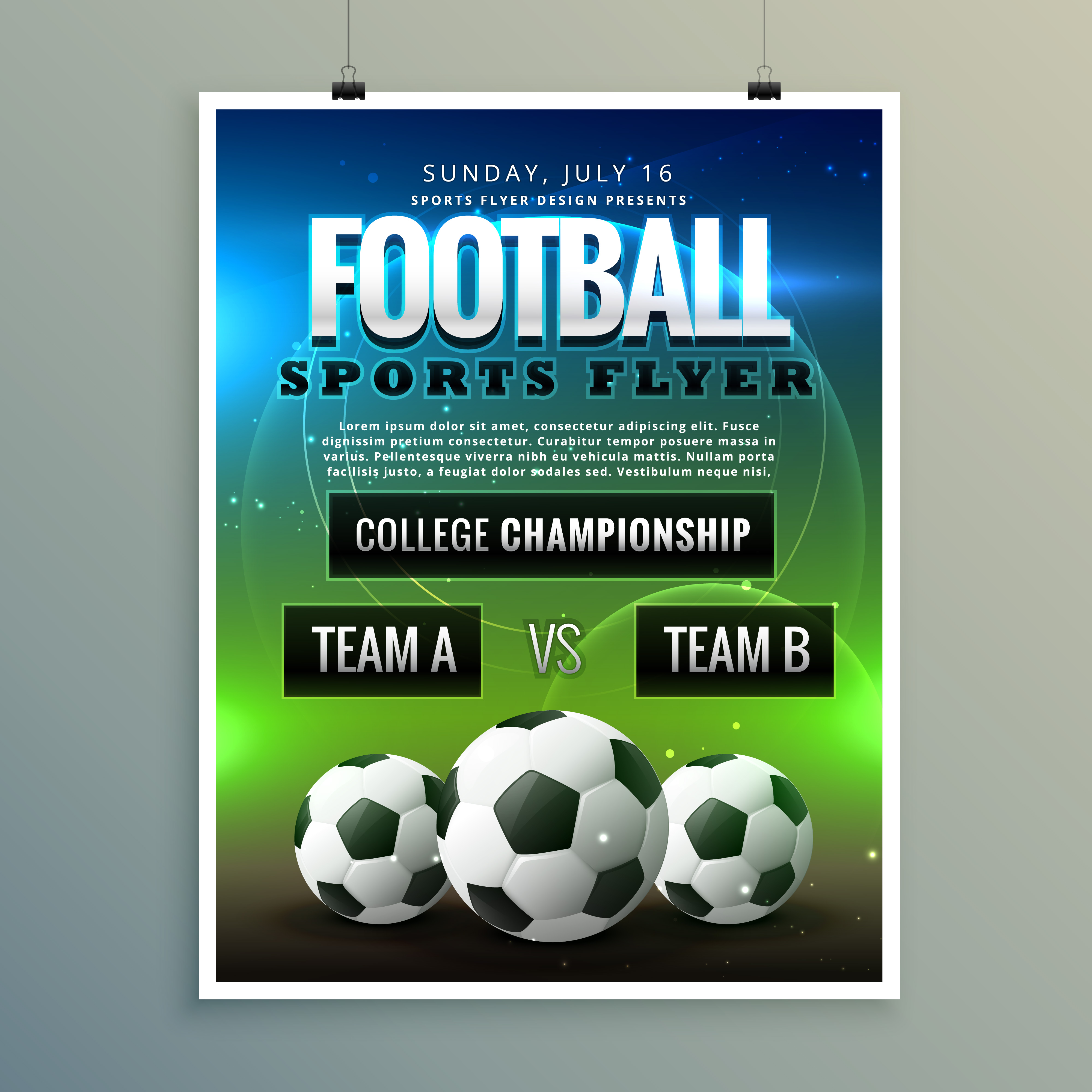 Soccer Football Poster Flyer Template Download Free Vector Art
