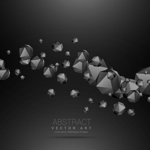 poliedros escuros fluindo fundo escuro de onda
