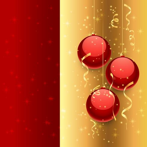 christmas balls in golden background