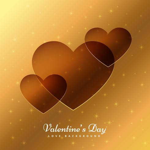 golden background of love hearts vector design illustration