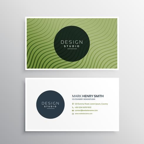green diagonal wavy lines business card vector design